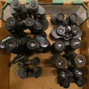 A collection of seventeen pairs of binoculars, makers to include, Miranda, Tasco, Beck Kassel, and