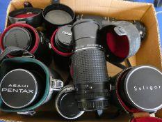 A quantity of camera lens, to include Tamron 750150, Lele Macro, Pentax 80-320, Pentax M zoom 80-