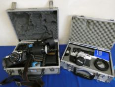 A collection of cameras, to inclusdde Pentax ME super with lens, Canob sure shot in alloy case,