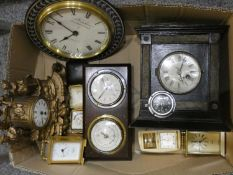 A 'Stadium' thirty hour car clock, together with various mantle, carriage, and travel clocks in