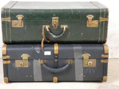 A green leather suitcase and a travelling trunk type suitcase (2).