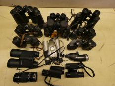 Cased and uncased collection of binoculars and monoculars, including Carl Zeiss 'Jena', Delacroix of
