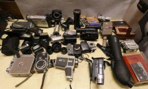 A John Davis & Son cased anemometer, a cased Konica cine camera, Sony handy cam, Olympus Trip 35