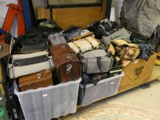 A large quantity of camera bags
