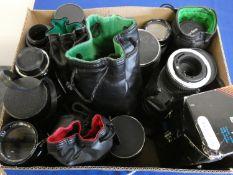 A quantity of camera lens, to include Tamron 85-210, Canon 70-210, Sigma telephoto 400, Prinz