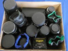A quantity of camera lens, to include Pentax 80-200, Hoya 80-205, Nikkon 70-300, Sigma auto focus,