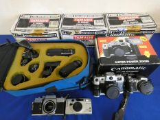 A collection of cameras, to include 3 x Tamashi FMD, boxed, a Canomatic in original box, Sony