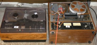 A Teac A-4010 GSL reel to reel tape recorder and a Beocord 1500 reel to reel tape recorder (2)