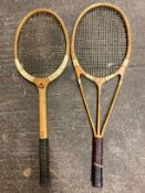 A Hazell`s Streamline Patented tennis racket, with red star, supplied by Crawfords of Hull, an 18