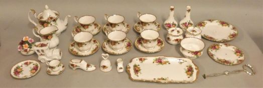A Royal Albert Old Country Roses part tea service, consisting of six cups/saucers, teapot, sugar