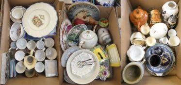 Three boxes of assorted ceramics and dinnerwares, including Burlington novelty teapot, German
