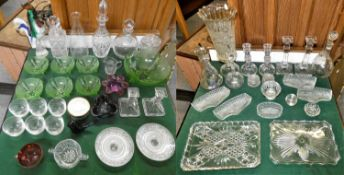 Two boxes of glassware, to include, dressing table set, decanters, three pairs of candle sticks,