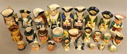 """A collection of Toby Jugs/mugs, including Royal Doulton """"Jolly Toby"""",""""Old Charley"""", other makers"""