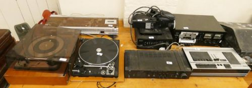 A Sony video camera together with 2 Dual record decks, a JVC amp, a Bang and Olufsen Beocenter 1500,