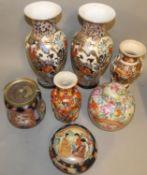 A pair of Japanese vases, 36cm, a Chinese lidded ginger jar, biscuit barrel, Japanese lidded bowl
