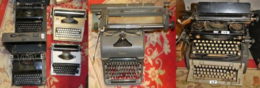 Typewriters - a selection of 13 typewriters including portable.