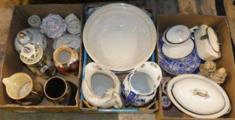 Three boxes of miscellaneous ceramics, including, a Becks bar top pump, Jug & bowl sets, Sylvac