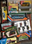 A collection of boxed diecast models, including Corgi and Matchbox.