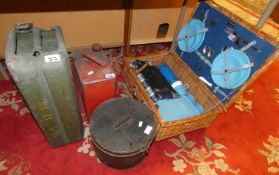 A fitted wicker picnic basket, together with a tin hat box, a 4 gallon jerry can, a 1 gallon