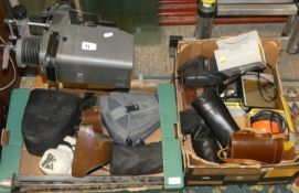 2 boxes of camera's/equipment, tripods and a ME Opta Axomats standard enlarger.