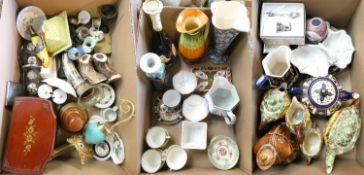 Three boxes of miscellaneous ceramics including, Maling fruit dishes, 4 piece tea service 'Ann
