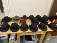 An assortment of hats including, Bowler, Trilby and Bush hats.
