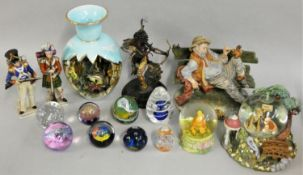 A Spirit of the Raven Franklin Mint model of a Native American Indian, various paperweights and a