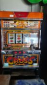 A Yamasa Co Ltd table top fruit machine, 80 x 47 cm, in working order but untested and guaranteed