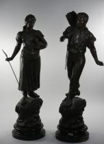 After A. Cadet, a 19th century French large pair of cold painted spelter figures, depicting a