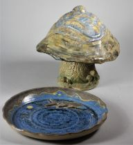 Louis Richwald, a blue glazed plate, with applied fish, engraved on base, diameter 26 cm, together