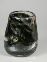 Geoffrey Baxter - Whitefriars - Knobbly range vase with black and green detail, height 14 cm