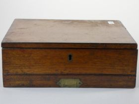 An Edwardian mahogany artists box, by G. Rowney & Co., with drawer beneath, the lid opening to a