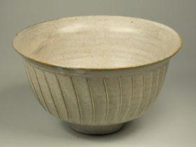 David Leach, a grey glazed porcelain fluted bowl, impressed LD seal, height 10.5 cm, diameter 19.5