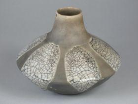 Tim Andrews, a grey glazed raku vase with crackle detail, height 15.5 cm