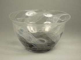 Andrew Sanders, Otley, 83, glass bowl with white and black detail, height 14 cm diameter 21.3 ,