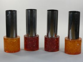 A set of four resin and chrome hanging lamp shades, c.1960/70, 26cm.
