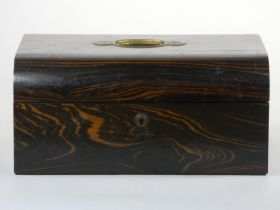 A Victorian coromandel wood and brass jewellery box, opening to reveal two fitted trays, 30 x 22 x