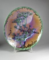 A mid-20th century oval platter with abstract design, impressed mark signed and dated 1999, diameter