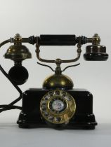 A Japanese model JN-4 vintage style telephone, serial number 082042, with brass fittings.