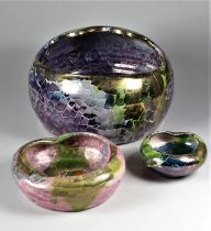 Claudio Pulli (Italian), a poly-chrome glaze bowl, height 15 cm, diameter 20 cm, together with two