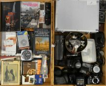 A collection of cameras, accessories and books, to include brands such as Samsung, Sigma and Minolta