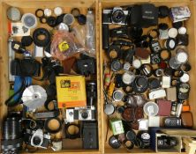 A collection of cameras and accessories, to include brands such as Canon, Praktica and Kodak (4)