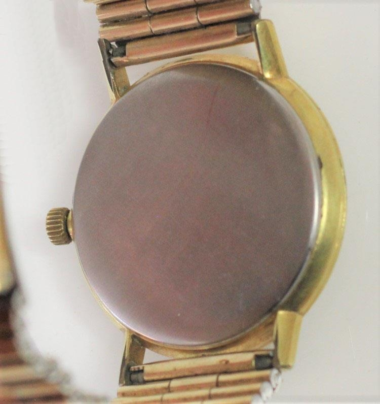 Omega, a gilt metal manual wind day gentleman's wristwatch, Arabic numerals, 34mm. - Image 2 of 3