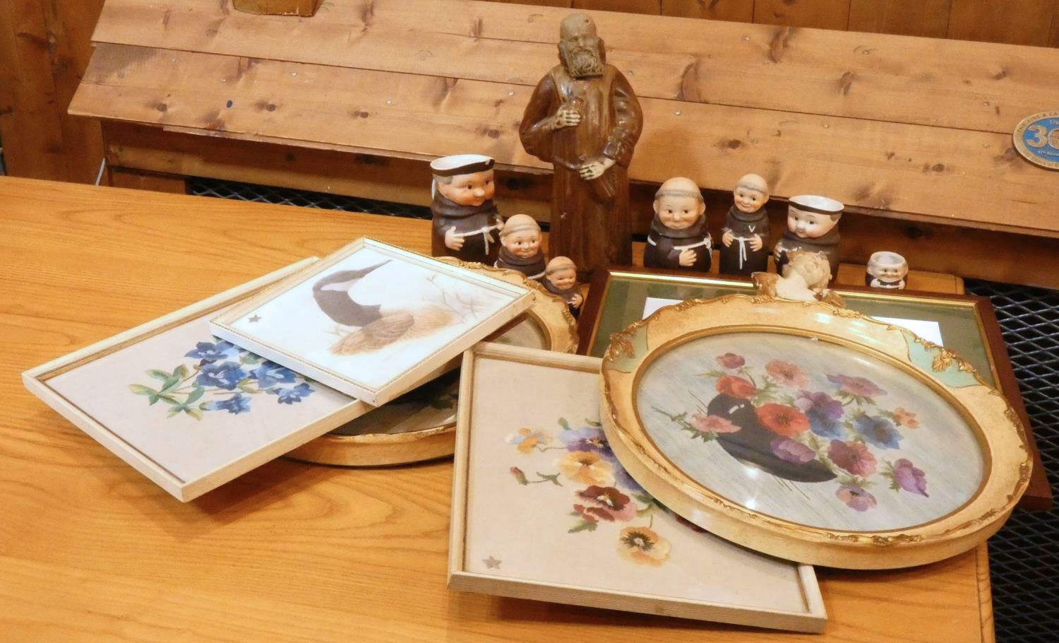 A pair of Mid Century circular silk on cloth still life's, framed & glazed, together with figural