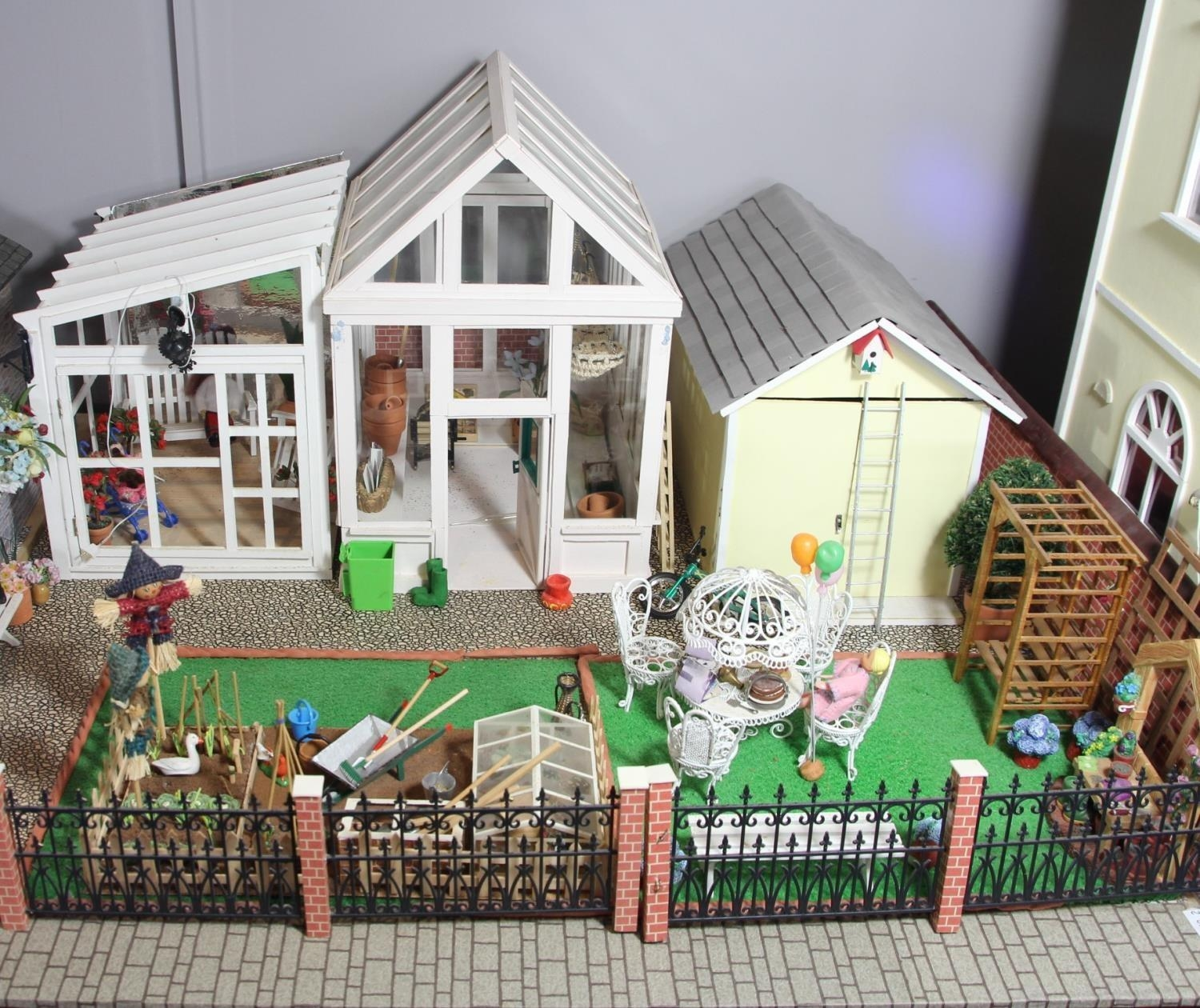 A large hand built dolls house diorama, composed of a two story chalet type house with integral - Image 3 of 20