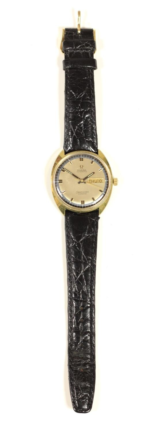 Omega Seamaster Cosmic day/date gilt metal gentleman's wristwatch, c.1970's, with blue chapter ring, - Image 3 of 3