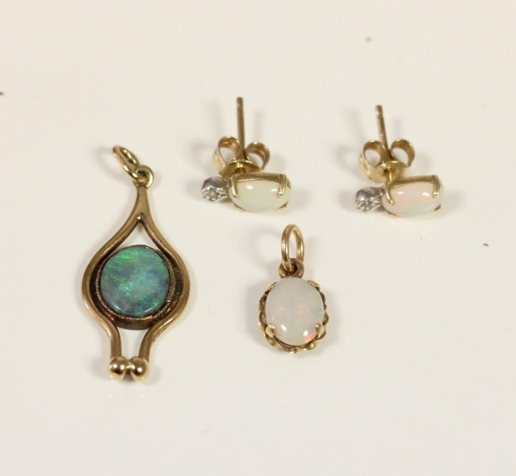 A Scottish 9ct gold and opal doublet pendant, Edinburgh 1978, another opal pendant and a pair of ear