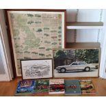 A Bartholomew vintage car poster, framed 110 x 85cm, a Jaguar showroom poster, framed and other
