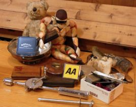 A collection of collectibles and other items to include, a jointed teddy bear, silk Pierrot doll, AA