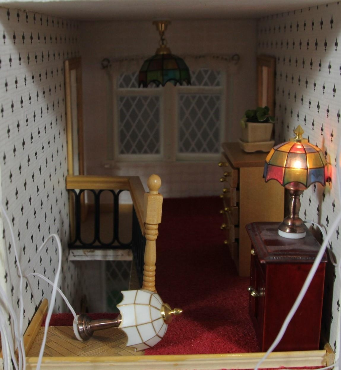 A large hand built dolls house diorama, composed of a two story chalet type house with integral - Image 5 of 20